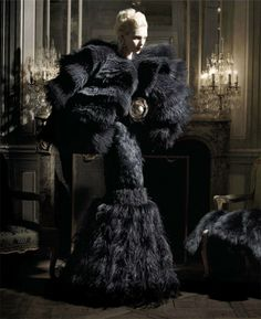 Anja chanelling Mona von Bismarck in Karl Lagerfeld's editorial for Harper's Bazaar. Wearing Alexander Mcqueen's cape and dress.