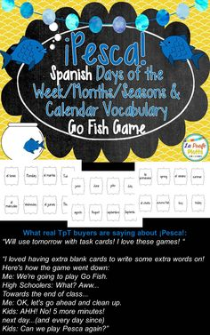 Fun game to help students of all ages learn the days of the week, months, seasons, and calendar vocabulary in Spanish. Cards can also be used for Memory and around the room vocab. activities!
