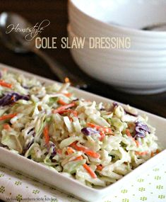 Fresh cabbage dressed with Homestyle Cole Slaw Dressing is so versatile you'll find yourself returning to it over and over again. Coslaw Recipes, Side Dish Recipes, Salad Recipes, Vegetarian Recipes, Chicken Recipes, Cooking Recipes, Healthy Recipes, Side Dishes, Vegetable Recipes