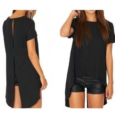 Beautiful  fun black asymmetric blouse Sexy black asymmetric blouse. Has two slits in the back for that extra sexy feel to it. It's very chic and super classy. Can dresses up or down. Made out of polyester material.♥️ Tops Blouses