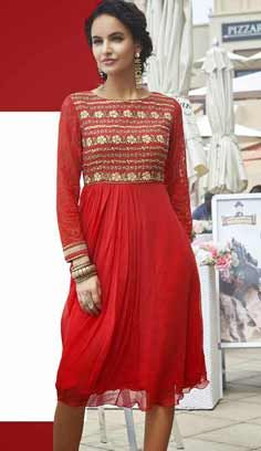 Fashionable Indian Red Faux Georgette Kurti