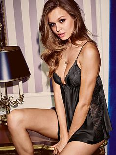 Satin & Lace Babydoll 					                SF-341-540 					                 				             		 			                         			                            $52.00