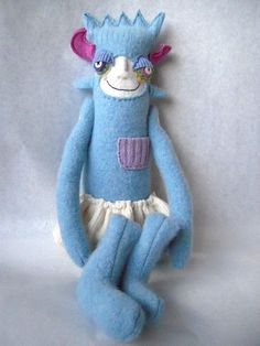 Monster Stuffed Animal Upcycled  from Wool by sweetpoppycat