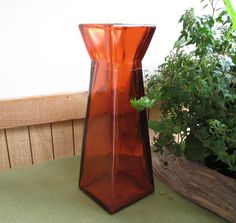 Tall Square Orange Glass Geometric Vase Florist by LazyYVintage