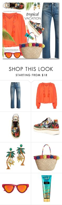 """Welcome to Paradise: Tropical Vacation"" by svijetlana ❤ liked on Polyvore featuring Raey, Free People, Elizabeth Cole, INC International Concepts, Smoke x Mirrors, Victoria's Secret and TropicalVacation"