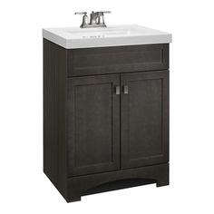 Style Selections Drayden Grey Integral Single Sink Bathroom Vanity with Cultured Marble Top (Common: 25-in x 19-in; Actual: 24.5-in x 18.75-in)