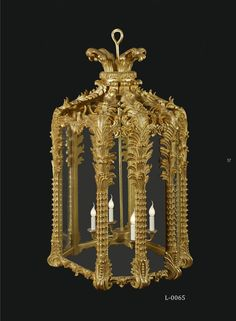Bespoke carved gilded hall lantern by wwww.rubensartgallery.com