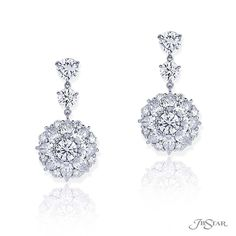 06b91bc48 5336-001 - Stunning diamond drop earrings featuring round and pear shape  diamonds in a