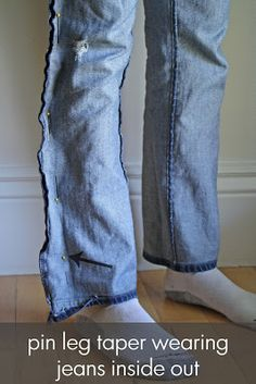 I decided I had enough posts to make a whole week about JEANS!   PART 1: Altering straight jeans to a tapered skinny leg opening     A sta...