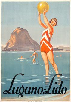 Artist Unknown, Lugano-Lido, 1928.  Vintage Travel Switzerland