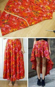 Diy high-low skirt from a long circle skirt. Don't forget to hem, maybe adding a fun ruffle along the ham and a few snap closed patch pockets.