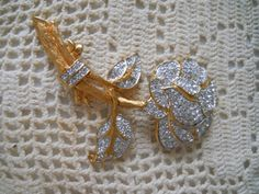 Rhinestone and Gold Brooch  Vintage Collectible by DEWshophere
