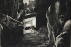 Edgar Degas, 'The Fireside (Le Foyer [La Cheminée]),' c. 1880-1885. Degas used his thumb and...