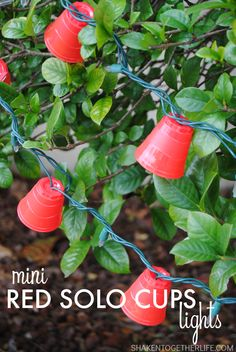 Mini Red Solo Cups Lights - Fun Game Day Idea! - Make a festive strand of lights for game day, tailgating or the man cave! Since I live in a…