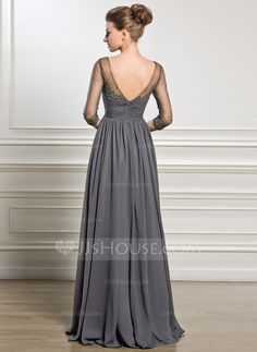 A-Line/Princess V-neck Floor-Length Chiffon Tulle Mother of the Bride Dress With Ruffle Beading Appliques Lace Sequins (008056889) - JJsHouse