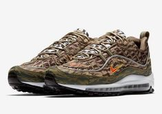 cf89f35cd39 Official Nike Air Max 98 Tiger Camo Khaki Team Orange Medium Olive AQ4130-200  Original
