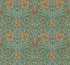 Honeysuckle and Tulip Emerald / Russet wallpaper by Morris