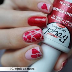 Heart of hearts! Juli Addicted used SuperNail ProGel in Flaming Poker, a sparkling red, for her Valentine's Day manicure.