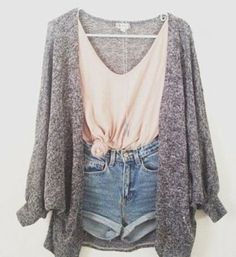 cardigan outfit tank denim shorts highwaisted shorts cardian ombre shirt