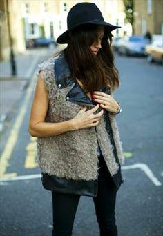 Freya - grey faux fur gilet with faux leather collar
