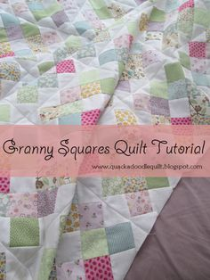 Quackadoodle Quilt: Granny Squares Quilt Tutorial I have made a few in crochet...maybe it's time to try it in fabric!