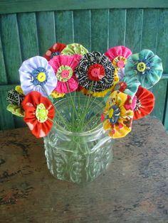 Yo-yo and button flowers.