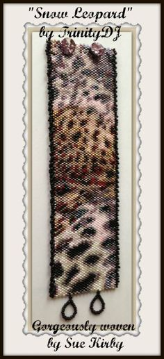 BP-AN-023 Snow Leopard Print Peyote Stitch Beadwork by TrinityDJ