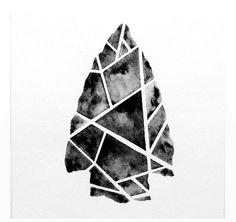 Geometric Tribal Arrowhead Original Watercolor Painting / 6 x 6