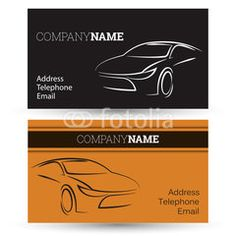 Cool car outline auto repair business card outlines business car business card reheart Images