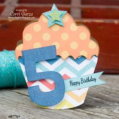 An Echo Park About A Boy Cupcake shaped 5th Birthday card by Corri Garza using cutting shapes and papers designed by Lori Whitlock.