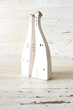 set of 2 white ceramic houses made in high by VesnaGusmanClayArt
