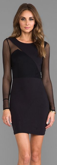 Donna Mizani Long Sleeve Dress in Caviar