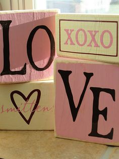 Valentines Day blocks; this website has some cute Valentines Day crafts for the home