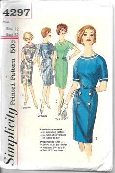 SIMPLICITY 4297 Size 12 Bust 32 Vintage 1960's by tanyamaile