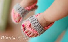 Baby Flip Flops - These adorable crochet shoes will easily stay on your little girl's feet. The sweet colors go nicely together, but you can use whatever colors you wish.