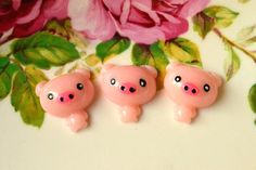 Resin Pig Cabochons 6 pcs Cute Pink Miniature by NamiSupplies, €3.00