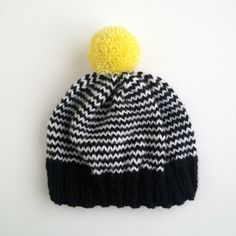 The Stripe-A-Thon Hat in Black, White, Neon Yellow - Ready to Ship Crochet For Kids, Crochet Baby, Knit Crochet, Pom Pom Hat, Baby Kind, Knitting Accessories, Black White Stripes, Knit Beanie, Knitting Designs