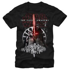 Feeling villainous? Represent The Force Awakens with the Star Wars Episode VII Kylo Ren Captain Phasma Black T-Shirt. The Star Wars The Force Awakens logo is  above Kylo Ren, Captain Phasma, and a squad of stromtroopers on the front of this black gra