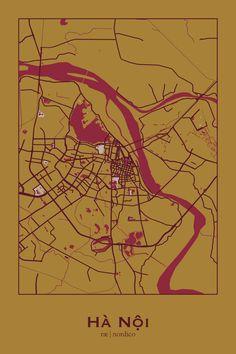 Hanoi, Vietnam Map Print Travel Maps, Asia Travel, Places To Travel, Vietnam Map, Vietnam Travel, Urban Mapping, Vietnam Holidays, Map Artwork, World Cities