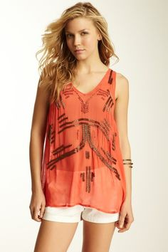 Free People Ginger Beaded Tank like the shape and the idea of the beading, not so much the color and execution