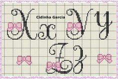 Cross Stitch Alphabet Patterns, Cross Stitch Letters, Cross Stitch Baby, Cross Stitch Embroidery, Stitch Patterns, Abc Letra, Crochet Letters, Stitch 2, Chrochet