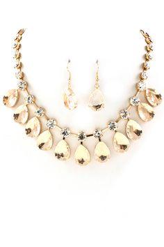 Champagne Teardrop Necklace Set on Emma Stine Limited