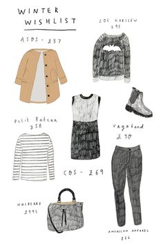My winter clothes wishlist, illustrated! http://raisinheart.com/2014/10/winter-clothes-wishlist/