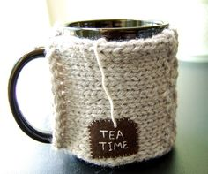 Personalize this Mug Cozy by KnitStorm on Etsy, $16.00