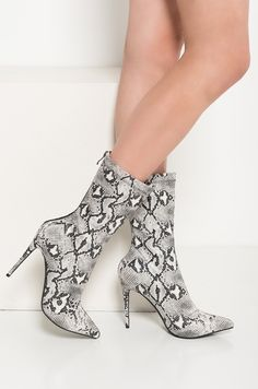16f3f1f028f2 AKIRA High Stiletto Heel Zip Up Pointed Toe Glimmer Faux Snakeskin Booties  in Black White Snake