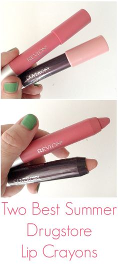 The two best summer drugstore lip crayons. One is matte, the other a beautiful glossy sheer nude.