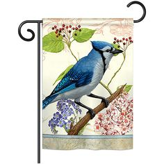 Two Group Flag Co. Floral Blue Jay Outdoor Flag (£7.48) ❤ liked on Polyvore featuring home, outdoors, outdoor decor, outdoor garden decor, outdoor patio decor and outside garden decor