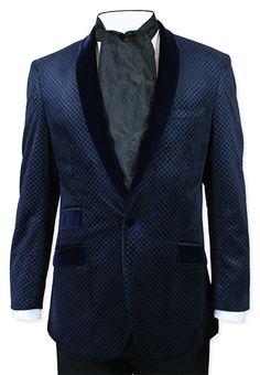 Chandler Velvet Smoking Jacket - Blue -  $119.95 - Size 44