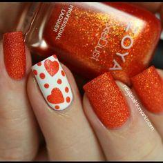 Orange and white mani