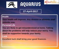 Check Your Today's Aquarius Free Daily Horoscope (27-April-2017). Read your detailed horoscope at astrovidhi.com. Capricorn Daily Horoscope, Daily Zodiac, Free Daily Horoscopes, Zodiac Signs Aquarius, Scorpio Zodiac, Specials Today, Health Programs, Trip Planning